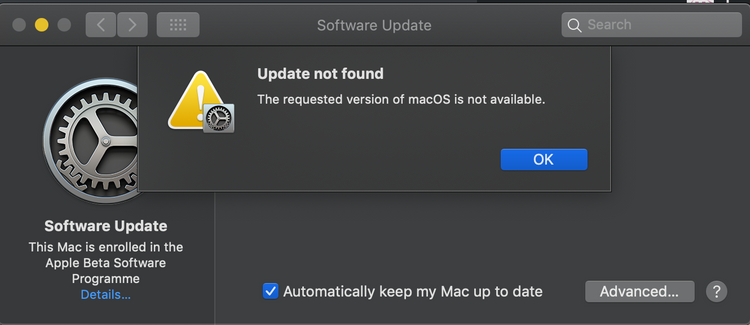 MacOS Catalina Beta installation issue